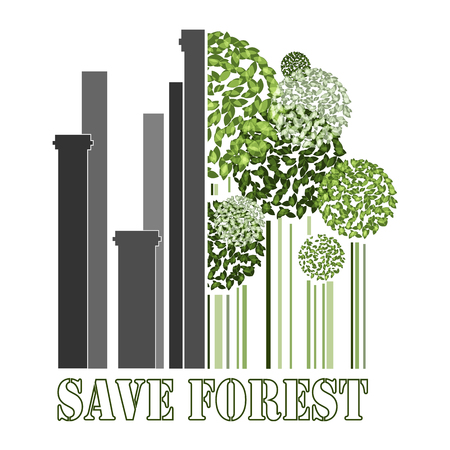 near: Save forest, green trees near factory pipes, ecology problems postcard, vector illustration
