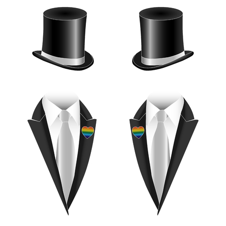 man sex: Vector illustration of gay homosexual couple marriage, non-traditional sexual orientation