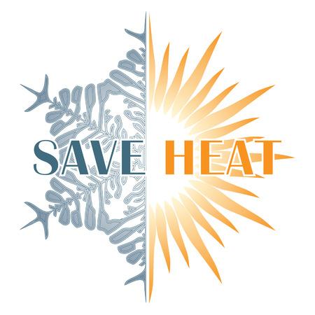 insolaci�n: Ahorre la postal de calor con el sol y copo de nieve, el ahorro de energ�a en invierno