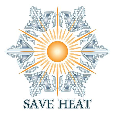 insolación: Ahorre la postal de calor con el sol y copo de nieve, el ahorro de energía en invierno