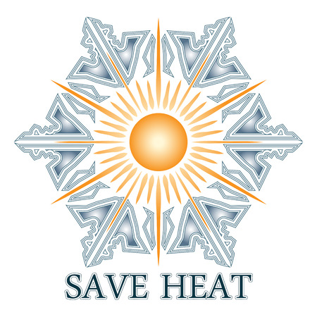Save heat postcard with sun and snowflake, energy saving in winter time