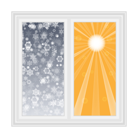 open window: Save heat postcard open window with snowflakes and sun contrast background