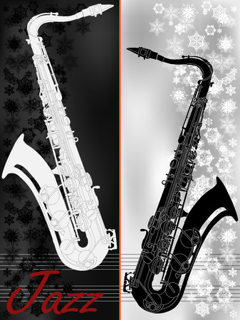 winter blues: Jazz music festival, poster background template with saxophone, vector billboard or placard