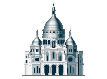 cupola: The sacred basilica Sacre Coeur in France. Famous symbol of Paris Illustration