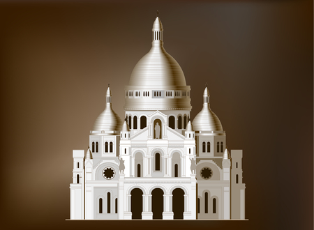 The sacred basilica Sacre Coeur in France. Famous symbol of Paris Illustration
