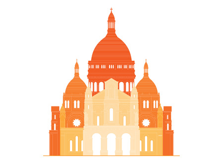 basilica: The sacred basilica Sacre Coeur in France. Famous symbol of Paris Illustration