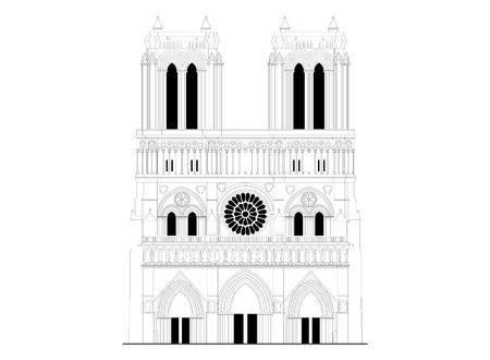 La sagrada catedral de Notre-Dame de París, en Francia. famoso símbolo de París, la arquitectura gótica Ilustración de vector