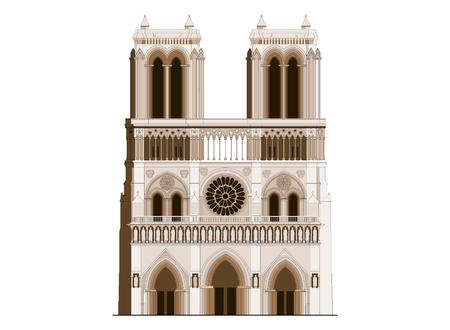The sacred cathedral Notre-Dame de Paris in France. Famous symbol of Paris gothic architecture