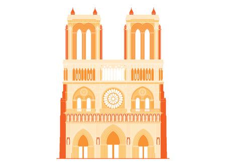 facade building: The sacred cathedral Notre-Dame de Paris in France. Famous symbol of Paris gothic architecture