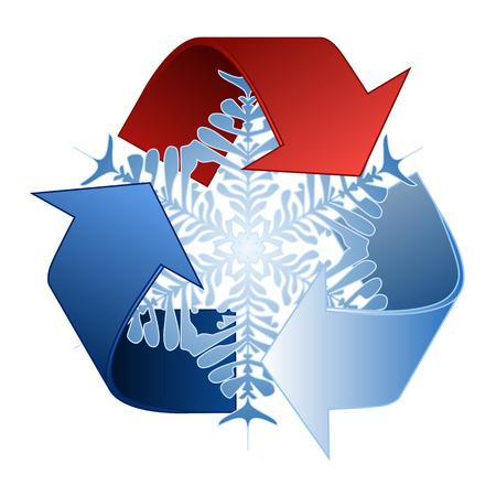insolaci�n: Guarde el ahorro de energ�a de calor y reciclar s�mbolo con el copo de nieve Vectores