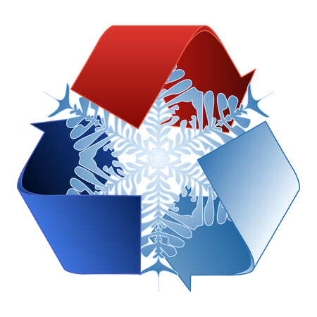insolación: Guarde el ahorro de energía de calor y reciclar símbolo con el copo de nieve Vectores