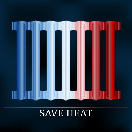 insolaci�n: Ahorre color calor ilustraci�n radiador para reducir el consumo de energ�a Vectores