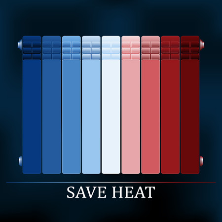 electricity icon: Save heat colored radiator illustration for reduce energy consumption Illustration