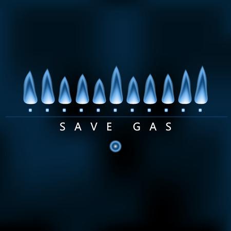 Ahorrar energía de la tierra, reducir y ahorrar gas, llama de gas naturaleza azul