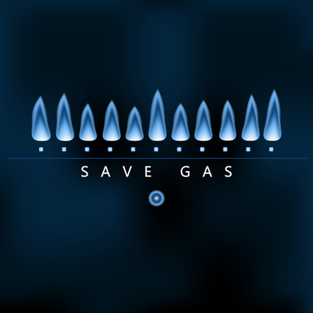 eficiencia energetica: Ahorrar energía de la tierra, reducir y ahorrar gas, llama de gas naturaleza azul