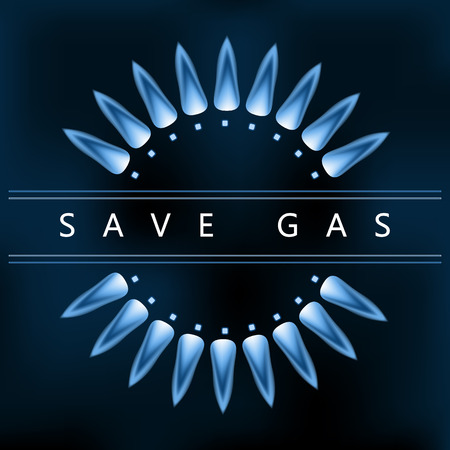 gas flame: Save earth power, reduce and save gas, blue nature gas flame Illustration
