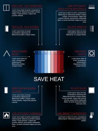 methods: Save heat icon infographic , ways and methods of heat saving in the house or flat