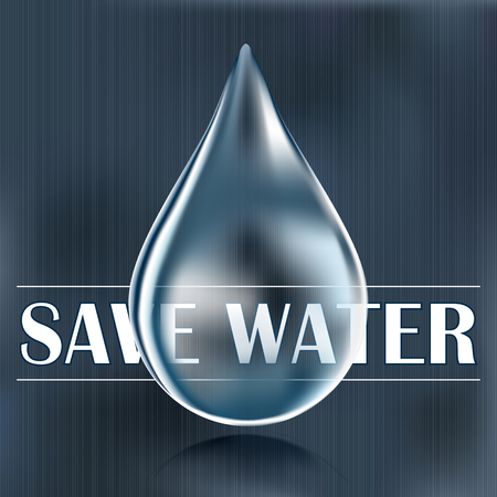 keep clean: Save water, blue water drop, water saving, reduce and save water supply