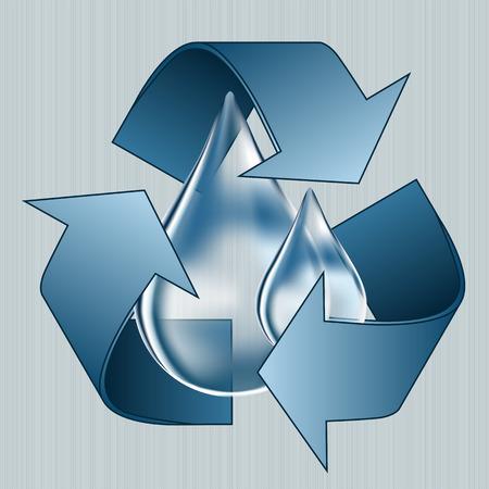 Ahorrar agua, gota de agua azul, el ahorro de agua, reducir y ahorrar suministro de agua Ilustración de vector