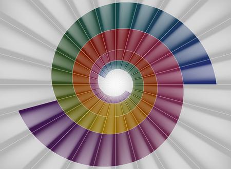 espiral: escalera de caracol, colorido túnel brillante de la luz Vectores