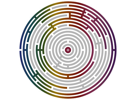 logic: Circular labyrinth abstract, logic puzzle with bright rainbow walls
