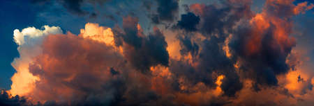 cumulus: Dramatic sky panorama, colorful sky in the sunset