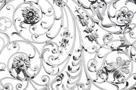 fence: Detailed grey wrought ornate fence isolated on white