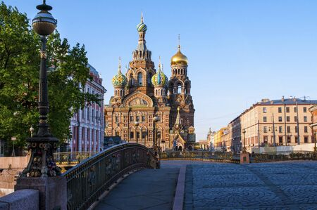 eclecticism: Early morning near the church of the Savior on Spilled Blood in Saint Petersburg city in Russia. Common pattern of Russian Architecture