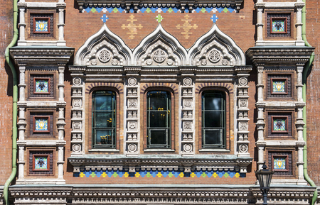 eclecticism: Windows of the Church of the Savior on Spilled Blood in Saint Petersburg city in Russia. Common pattern of Russian Architecture