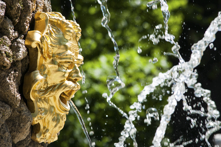 peterhof: Golden fountain face of Neptune in the park with stream in his mouth Stock Photo
