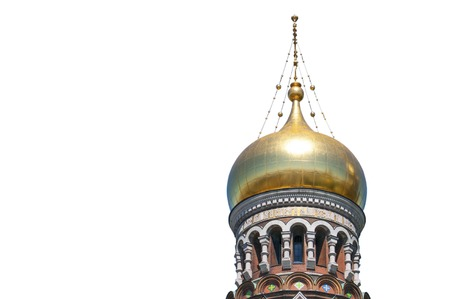 eclecticism: Golden cupola of the Church of the Savior on Spilled Blood in saint Petersburg isolated on white