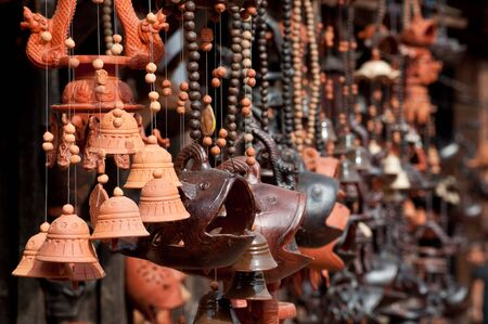 handicrafts: Pottery and different ceramic handicrafts in the marketin Nepal. Oriental souvenirs and gifts Stock Photo