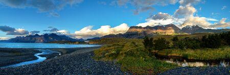 streamlet: Sunrise in Patagonian Andes, big size panorama. Small river near Viedma lake, Los Glaciares national park Stock Photo