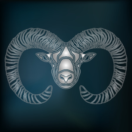 augury: Silver Ram, zodiac Aries sign for astrological predestination and horoscope