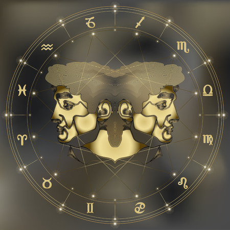 augury: Golden twins, zodiac Gemini sign for astrological predestination and horoscope
