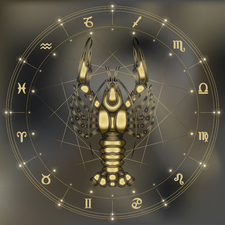 augury: Golden crayfish, zodiac Cancer sign for astrological predestination and horoscope