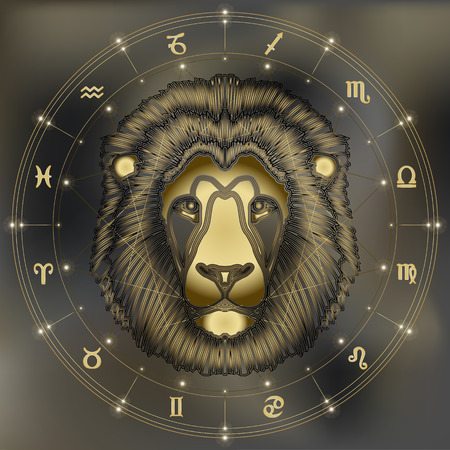 zodiac signs: Golden lion head, zodiac Leo sign for astrological predestination and horoscope
