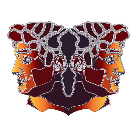 janus: Bright colorful twins, zodiac Gemini sign for astrological predestination and horoscope Illustration