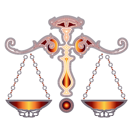 augury: Bright colorful scales, zodiac Libra sign for astrological predestination and horoscope