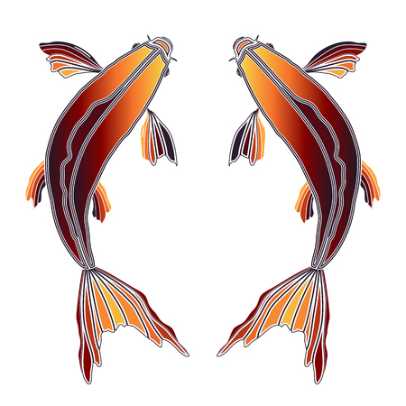 augury: Bright colorful fishes, zodiac Pisces sign for astrological predestination and horoscope