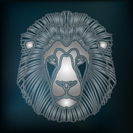 augury: Silver lion head, zodiac Leo sign for astrological predestination and horoscope