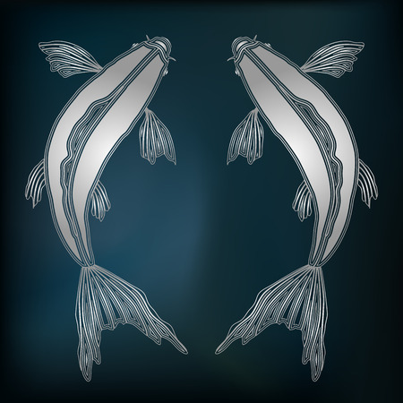 augury: Silver fishes, zodiac Pisces sign for astrological predestination and horoscope Illustration