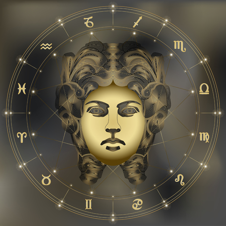 Golden woman, zodiac Virgo sign for astrological predestination and horoscope 向量圖像