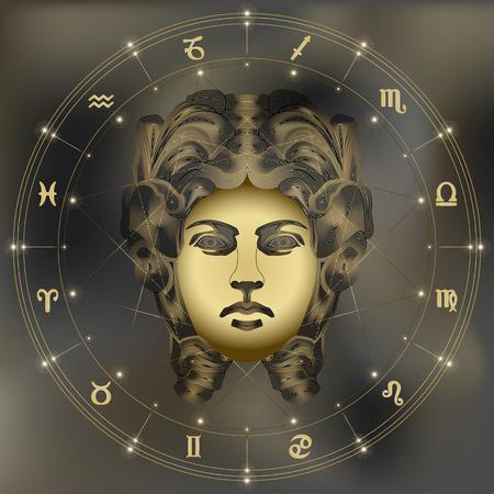 Gouden vrouw, dierenriem Virgo aanmelden voor astrologische predestinatie en horoscoop Stock Illustratie