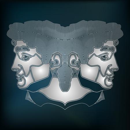 prognosis: Silver twins, zodiac Gemini sign for astrological predestination and horoscope Illustration
