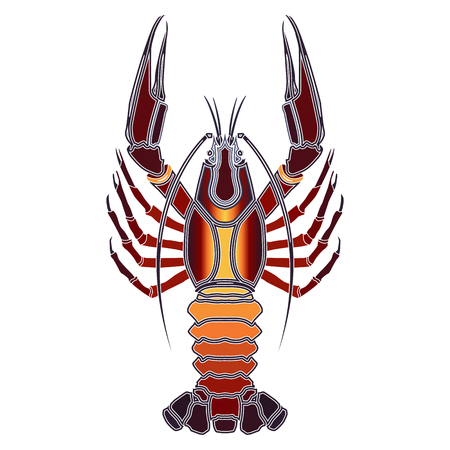 augury: Bright colorful crayfish, zodiac Cancer sign for astrological predestination and horoscope