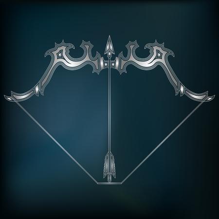 augury: Silver bow and arrow, zodiac Sagittarius sign for astrological predestination and horoscope