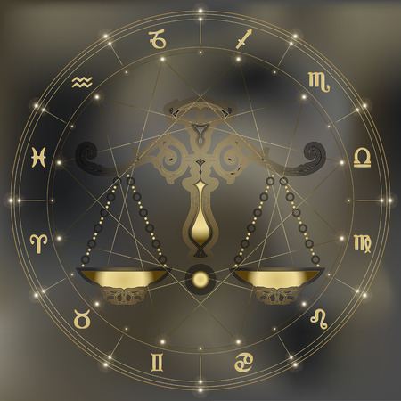 destiny: Golden scales, zodiac Libra sign for astrological predestination and horoscope