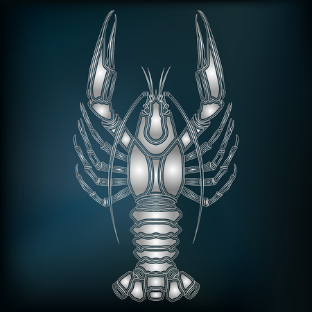 augury: Silver crayfish, zodiac Cancer sign for astrological predestination and horoscope Illustration