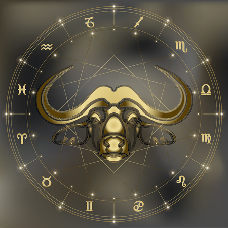 Golden bull, zodiac Taurus sign for astrological predestination and horoscope